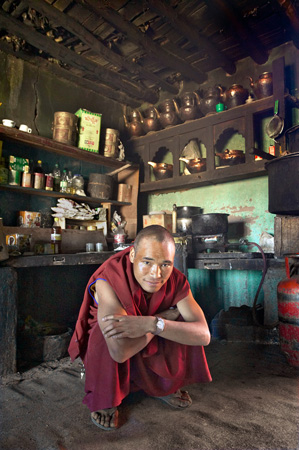 Monk in monastery kitchen